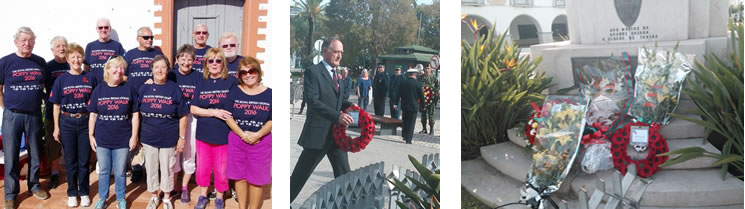 Some of the 46 'East Algarve Strollers' who took part | Major Bill Bullock (British Army retired) laid a wreath at the War Memorial in Tavira | The War Memorial in Tavira