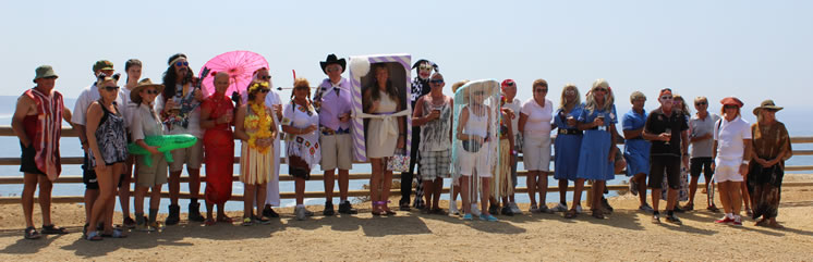 The walkers in fancy dress, preparing to set off