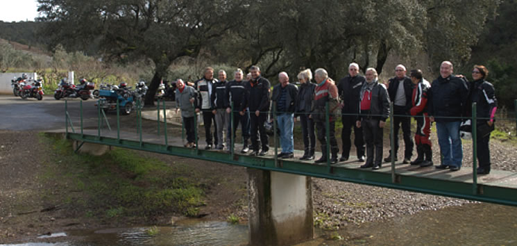 The group on the bridge at the Fonte at Sao Barnabe