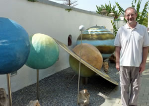 Clive Jackson with some of his Models of the Planets