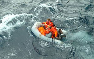 Their boat did sink - so it was lucky for them that they had a dinghy