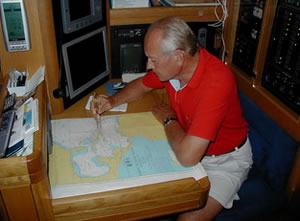 Planning a passage using a Mercator chart in the Caribbean on an Oyster 56