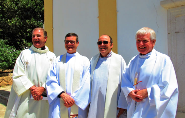 left to right: Father Mark Wilson (St Vincent's Chaplain Central and Eastern congregations); Father Rob Kean, Padre Ze Manuel (Roman Catholic priest Praia da Luz); Archdeacon Geoffrey Johnston