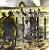 "German soldier greets British ""Tommies"" with a Christmas tree in ""No Man's Land"""