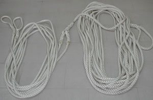 A 60 metre long tow rope made up as a bridle