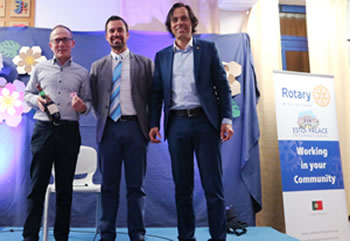 "Left to right: Prof. Luis Santos, RCEPI President - Bruno Sousa Costa, and Director of the Group of Schools ""Pinheiro e Rosa"" -  Prof. Francisco Soares."