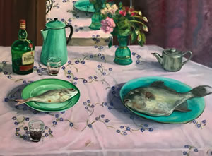 Edwin Hagendoorn / Justine Albronda, Tablescape, 80 x 60 cm. oil on canvas.